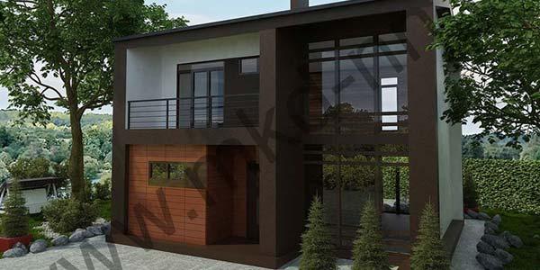 Двухэтажный панельно-каркасный дом Модерн 139