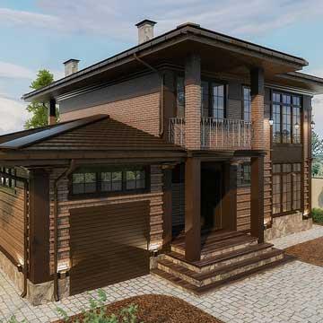 Двухэтажный панельно-каркасный дом Модерн 202