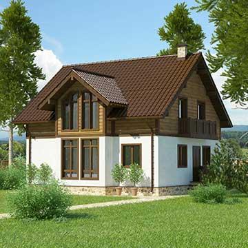 Двухэтажный панельно-каркасный дом Комфорт-2